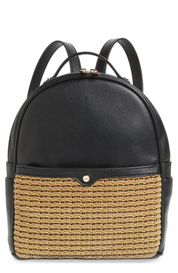 Mali + Lili Harper Lili Basket Weave Backpack - Black
