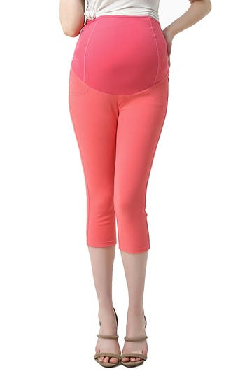 Kimi And Kai Melody Capri Denim Maternity Leggings, Coral