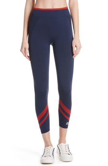 Tory Sport Contrast Chevron Seamless Leggings, Blue