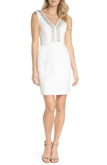 Eliza J Beaded V-Neck Sheath Dress, Ivory