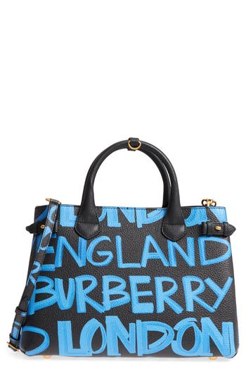 Burberry Medium Banner Graffiti Leather Tote - Black