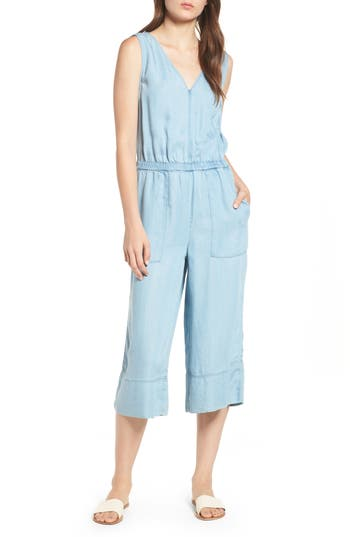 65a9d61918dc Splendid Indigo Cropped Wide-Leg Chambray Jumpsuit In Light Wash ...