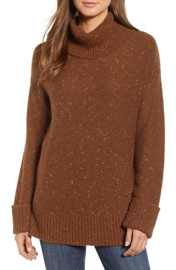 Caslon Roll Neck Cotton Wool Blend Sweater, Brown