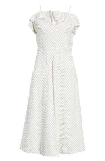 Rebecca Taylor Ruffled Stripe Midi Dress, Blue