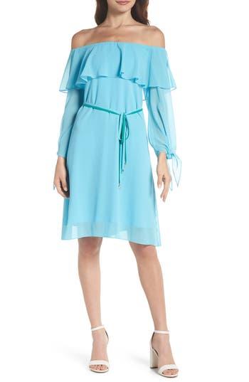 Sam Edelman Off The Shoulder Ruffle & Tie Dress, Blue