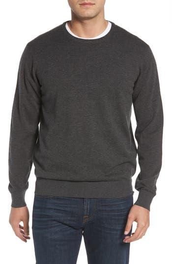 Peter Millar Wool & Cotton Crewneck Sweater, Grey