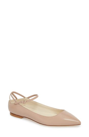 Brian Atwood Astrid Ankle Strap Flat, Beige