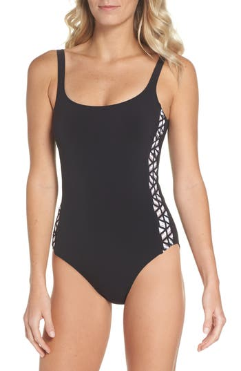 Profile By Gottex Round Neck One-Piece Swimsuit, Black