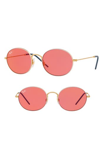 Ray-Ban Youngster 5m Oval Sunglasses - Pink/ Red Mirror