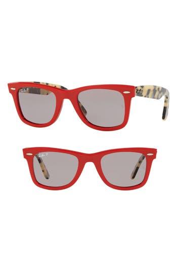 Ray-Ban Standard Classic Wayfarer 50Mm Polarized Sunglasses - Red