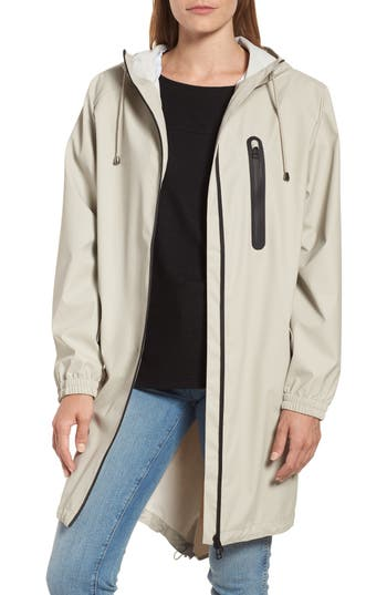 Kristen Blake Hooded Rain Topper Jacket, Ivory