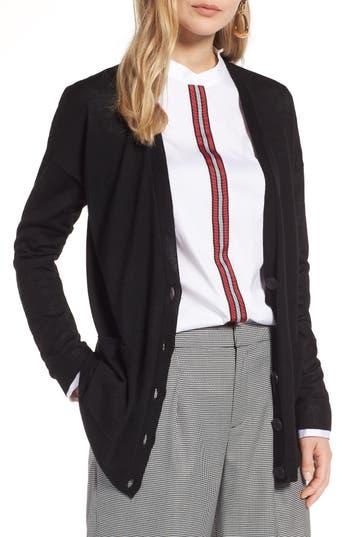 Halogen V-Neck Merino Wool Cardigan, Black