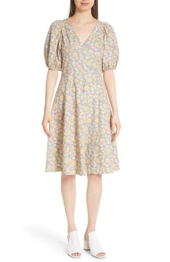 La Vie Rebecca Taylor Margeaux Balloon Sleeve Cotton Dress, Yellow