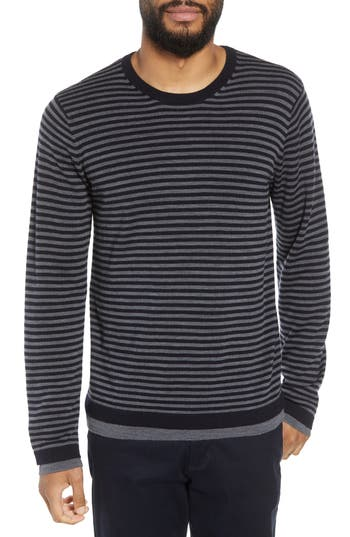 Vince Striped Double Layer Merino Wool Sweater, Grey