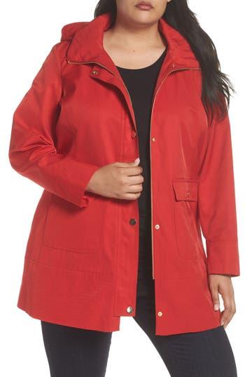 Plus Size Kristen Blake Hooded Rain Jacket, Red