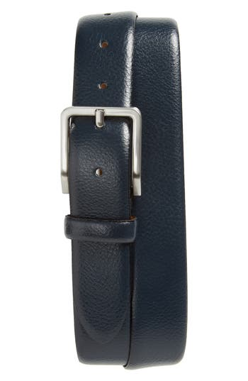 Johnston & Murphy Leather Belt, Navy