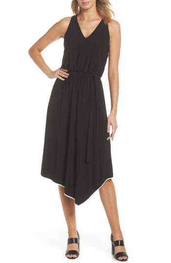 Adrianna Papell Handkerchief Hem Jersey Midi Dress, Black