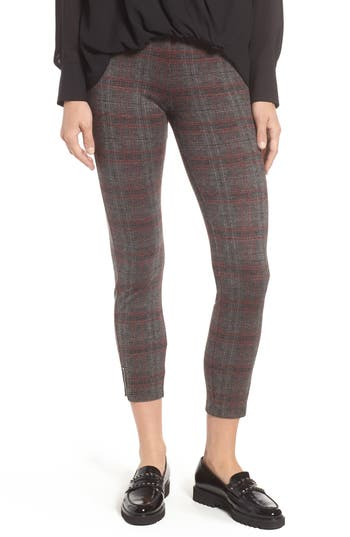 Lysse Mini Zip Plaid Crop Leggings, Black