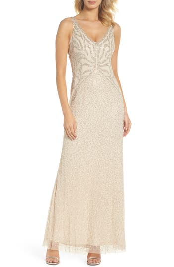 1930s Evening Dresses | Old Hollywood Dress Womens Adrianna Papell Beaded V-Neck Gown $329.00 AT vintagedancer.com