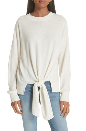 Frame Knot Front Wool & Cashmere Sweater, Ivory