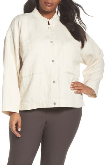 Plus Size Eileen Fisher Short Organic Cotton Jacket, Size One Size - White