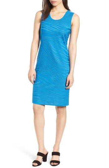 Ming Wang Jacquard Knit Sheath Dress, Blue