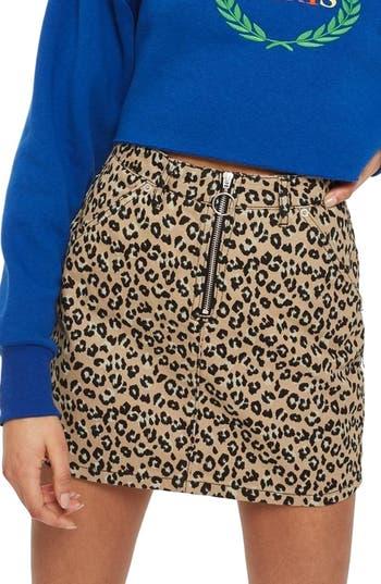 Topshop Half Zip Leopard Print Denim Skirt, US (fits like 14) - Brown