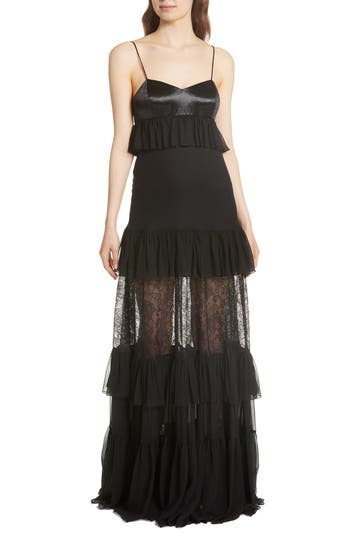 Caroline Constas Maris Lace Panel Gown, Black