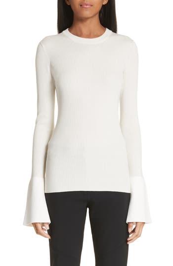 Proenza Schouler Contrast Cuff Silk & Cashmere Blend Sweater, Ivory