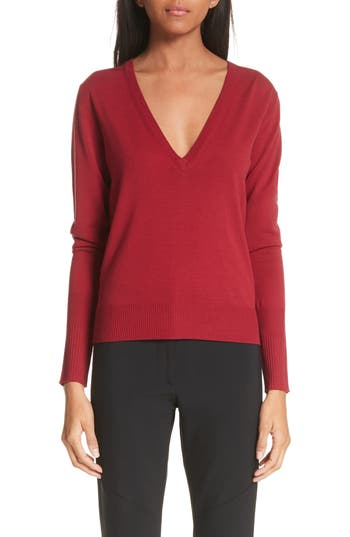Proenza Schouler Merino Wool Blend Sweater, Burgundy