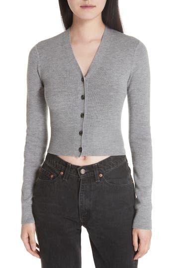 T By Alexander Wang Twist Back Merino Wool Crop Sweater, Grey