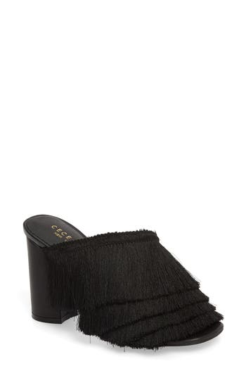 CECELIA NEW YORK Frix Fringe Mule in Black Fabric