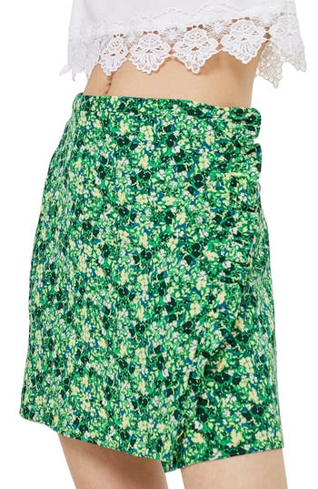 Topshop Green Meadow Ruffle Miniskirt, US (fits like 0) - Green