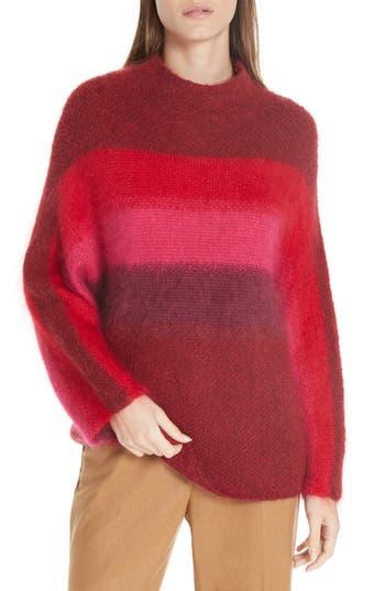 Rag & Bone Holland Stripe Merino Wool & Mohair Blend Sweater, Burgundy