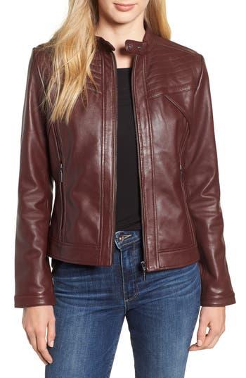 BERNARDO Stitched Leather Jacket in Wine