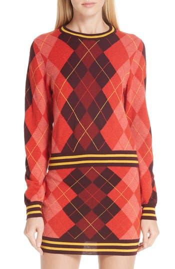 Rag & Bone Dex Argyle Merino Wool Sweater, Burgundy