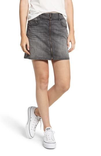 Sp Black Zip Front Denim Miniskirt, Grey