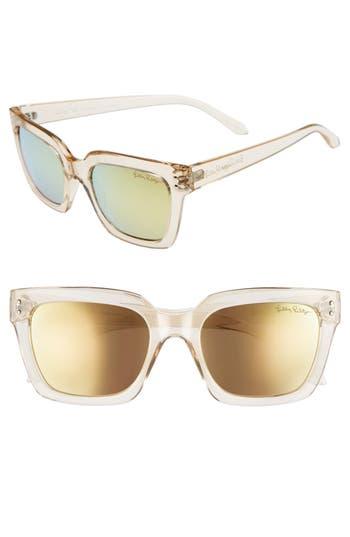 Lilly Pulitzer Celine 5m Polarized Square Sunglasses - Gold/ Gold
