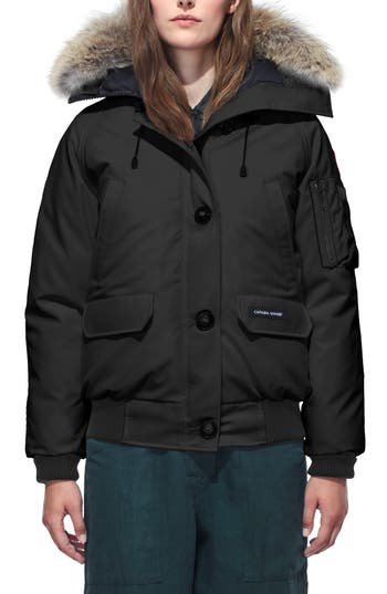 Canada Goose Chilliwack Hooded Down Bomber Jacket With Genuine Coyote Fur Trim, (0) - Black