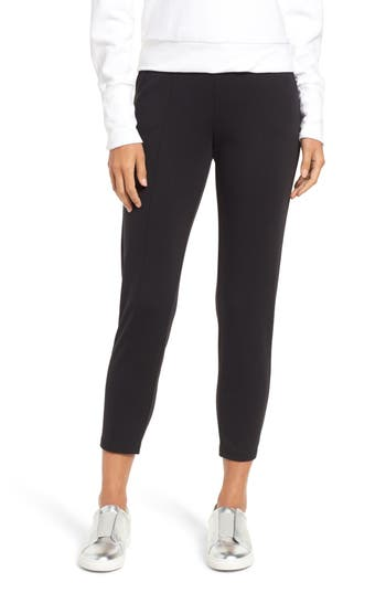 Hue Luxe Seamed Ponte Skimmer Leggings, Black