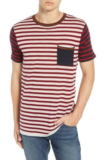 Scotch & Soda Stripe Merino Wool Pocket T-Shirt, Red