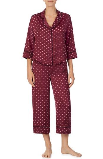 Room Service Crop Pajamas, Burgundy