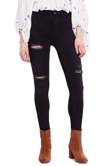 Free People Long & Lean Ripped High Waist Denim Leggings