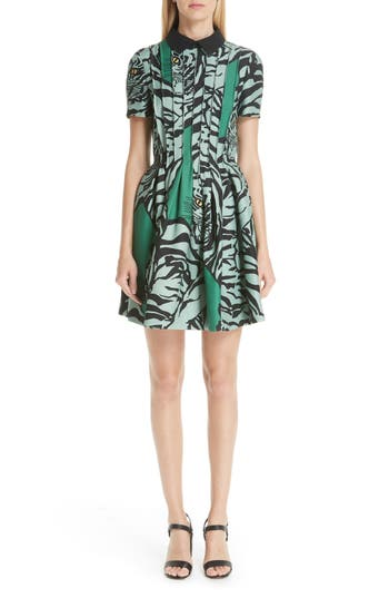 Valentino Tiger Re-Edition Fit & Flare Dress, Green