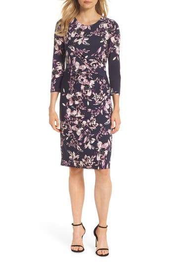 Eliza J Floral Sheath Dress, Blue