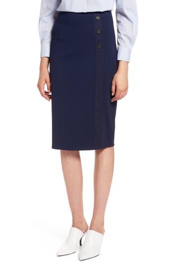 Halogen Textured Ponte Pencil Skirt, Blue