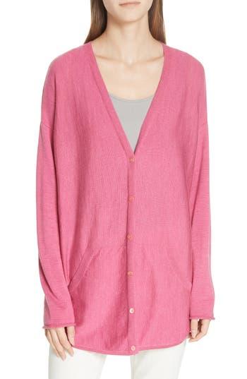 Eileen Fisher Merino Jersey V-Neck Cardigan, Pink