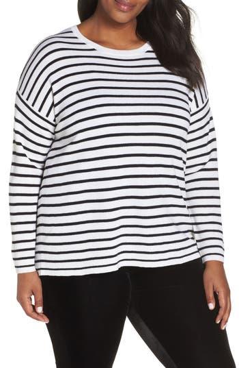Plus Size Eileen Fisher Stripe Merino Wool Sweater, White