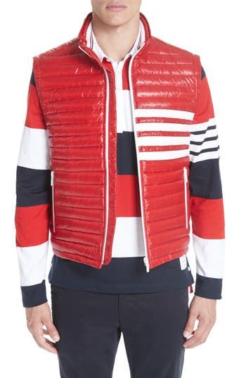 Thom Browne 4 Bar Quilted Down Vest, Red