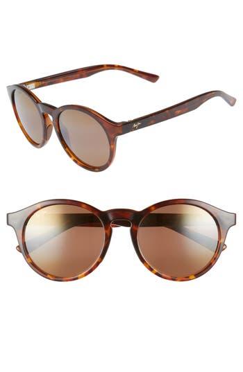 Maui Jim Pineapple 50Mm Polarized Round Sunglasses - Tortoise